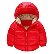 Toddler Baby Boys Girls Outerwear Hooded coats Winter Jacket Kids Clothes, 6-12 Months, Red