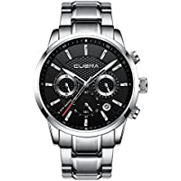 CUENA Men Sport Waterproof Dress Watch Analog Quartz Classic Stopwatch Luxury Wristwatch Silver