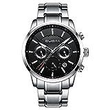 CUENA Men Sport Waterproof Dress Watch Analog Quartz Classic Stopwatch Luxury Wristwatch Silver