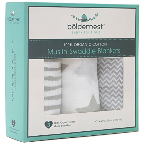 Bōldernest Organic Cotton Muslin Swaddle Blanket Set | Large 47x47 Unisex Grey and White Newborn Receiving Blankets | Soft and Breathable | Easy Swaddling for Infant Boy or Girl | Baby Shower Gifts