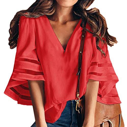 en Shirt Blouse Courtes Encolure Stripe Mousseline de Red V Soie Loose en Manches Manches Blouse Chemisiers dcontracte Leisure Oversize Longues Manches Linen Shirt Scothen Tee Tops Femme Tops U8afBInI