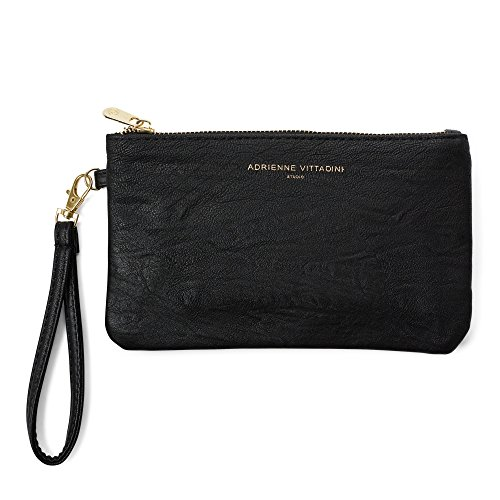 Adrienne Vittadini Zip-Around Charging Wristlet with Detachable Strap (Black Weathered)