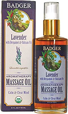 Badger Aromatherapy Massage Oil - 4 fl oz Glass Bottle