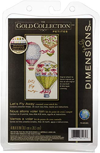 (Dimensions Gold Petite Counted Cross Stitch Kit 'Let's Fly Away' Hot Air Balloon Pattern, 18 Count Ivory Aida Cloth, 4'' x 8'')
