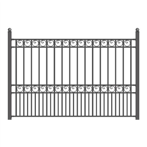 ALEKO FENCEPARDIY5X5.5 Paris Style DIY Galvanized Steel Fence Ornamental Security 5.5 x 5 Feet Black