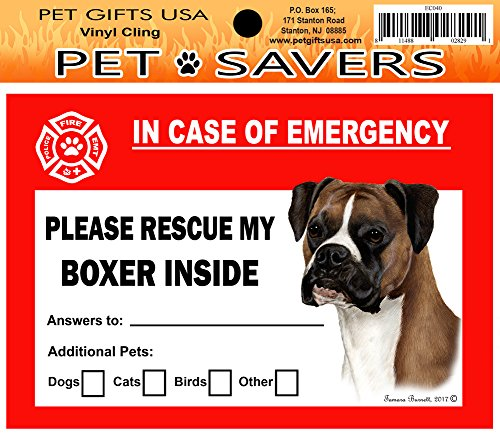 Rescue Boxers - In Case of Emergency Home Window Pet Savers Rescue Cling Sticker, Boxer