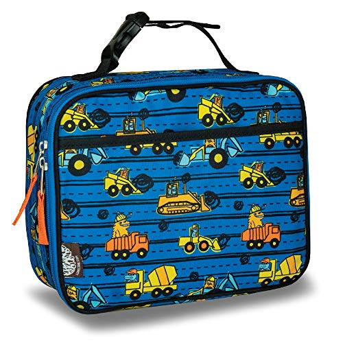 LONECONE Kids' Insulated Fabric Lunchbox - Cute Patterns for Boys and Girls, Construction Monsters, Standard with Buckle