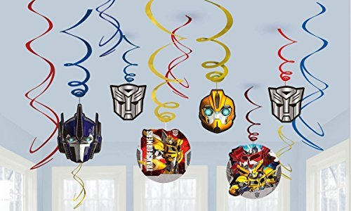 Transformers Party Foil Hanging Swirl Decorations / Spiral Ornaments (12 PCS)- Party Supply, Party Decorations -