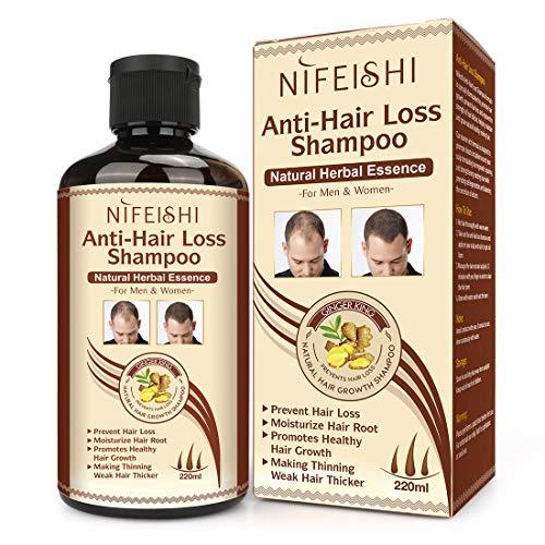 Hair Growth Shampoo, Anti-Hair Loss Shampoo, Natural Old Ginger Hair Care Shampoo Effective Solution for Hair Thinning…