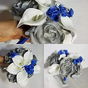 Grey Royal Blue Rose Calla Lily Bridal Wedding Bouquet & Boutonniere 38