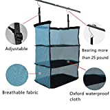 TopEva 3 - Shelves Packable Hanging Closet Organizer Suitcase Trunk Luggage Mate for Traveling Grocery Storage (Blue)