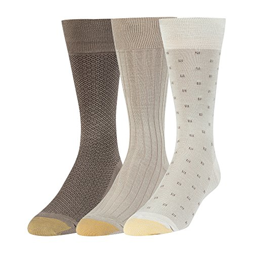 Gold Toe Men's Big and Tall Dress Crew Socks, 3 Pairs, String/Driftwood/Taupe, Shoe Size: (Taupe Mens Socks)
