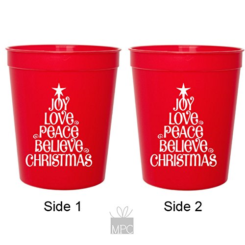 Christmas Red Plastic Stadium Cups - Joy Love Peace (10 cups)