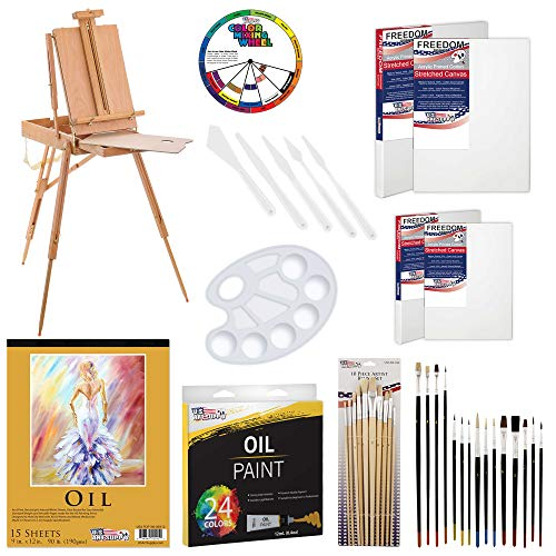 "U.S. Art Supply 63 Piece Oil Artist Painting Kit with Wood French Easel, 24 Oil Paint Colors, 2-16""x20"" & 2-11""x14"" Stretched Canvases, 25 - Paint Brushes, Palette Knife Set, 10-Well Palette"