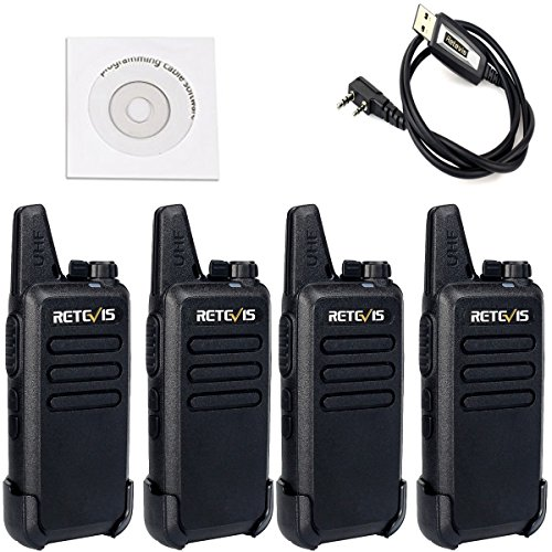 Retevis RT22 Walkie Talkies Rechargeable 16 CH CTCSS/DCS VOX License-free Two Way Radio(4 Pack) and Programming Cable by Retevis