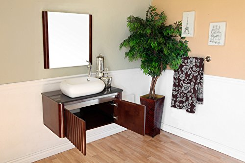 Bellaterra Home 804347 32.5-Inch Single Sink Vanity, Wood, Walnut - Wood cabinet, no MDF or Particle board Blum soft close hinges with lifetime warranty Clean line modern design - bathroom-vanities, bathroom-fixtures-hardware, bathroom - 51H5%2BwnNEtL -