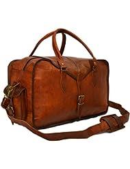 Mens Genuine Leather Vintage Duffle Gym Large Travel Weekend Luggage Bag …
