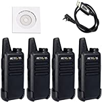 Retevis RT22 Walkie Talkies Rechargeable UHF 400-480MHz 16 CH CTCSS/DCS VOX Two Way Radio(4 Pack) and Programming Cable