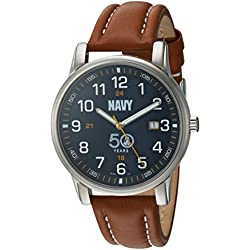 U.S. Navy Wrist Armor Men's 'Franklin Mint' Swiss Quartz Stainless Steel and Leather Casual Watch, Color:Brown (Model: 37FM0400201A)