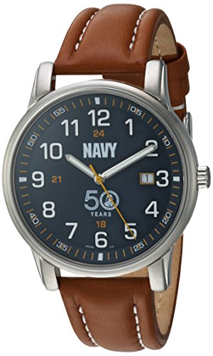 U.S. Navy Wrist Armor Men's 'Franklin Mint' Swiss Quartz Stainless Steel and Leather Casual Watch, Color:Brown (Model: 37FM0400201A) -  H. Best, Ltd.