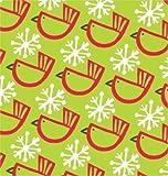 Winter Birds Green Christmas Gift Wrap Roll 24'' X 15'