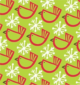 Winter Birds Green Christmas Gift Wrap Roll 24'' X 15' by Premium Gift Wrap