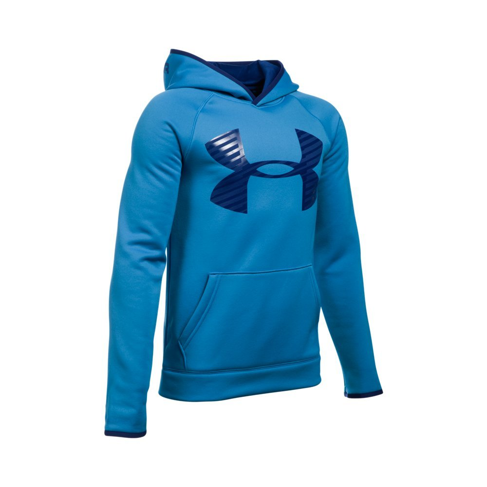 Under Armour Boys' Storm Armour Fleece Highlight Big Logo Hoodie, Brilliant Blue/Caspian, Youth X-Small