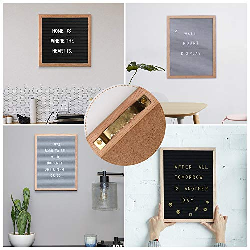 Changeable Letter Board, 12 x 18 Message Board Sign with 678 Characters, Black Felt Board, Oak Wood Frame, Mounting Hook and 3 Free Storage Bag Perfect Gift