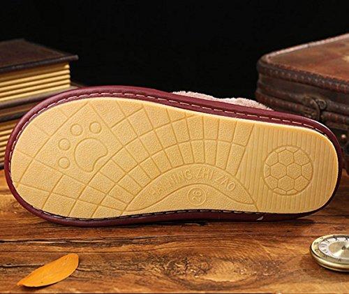 Pantofole In Vera Pelle Inverno Haisum Per Donna, Fodera In Pelliccia Sintetica Scarpe Chiuse Per Le Scarpe Interne Per Esterni Viola (8832)
