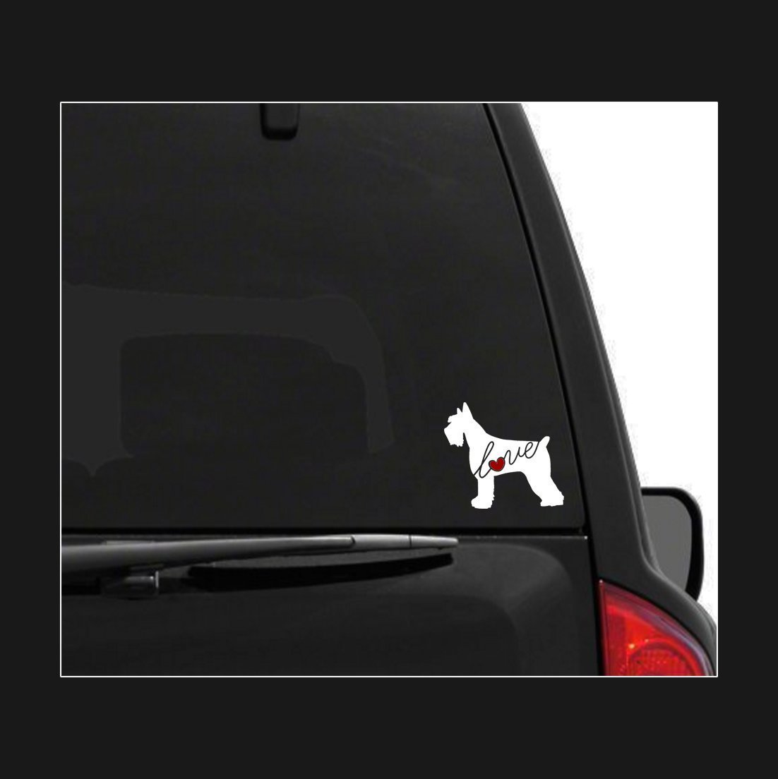 Car Window Vinyl Decal Sticker Script Font Giant Schnauzer Love