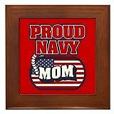 CafePress U.S. Navy Proud Mom - Framed Tile, Decorative Tile Wall Hanging