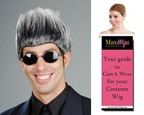 Buckwheat Don King color MIXED GREY - Enigma Wigs Boxing Promoter High Top Fade Bundle with Cap, MaxWigs Costume Wig Care Guide