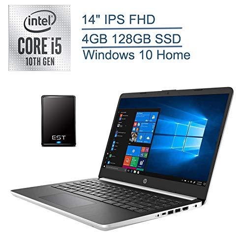 """2020 HP 14"""" FHD Laptop Computer/ 10th Gen Intel Quad-Core i5 1035G4 Up to 3.7GHz (Beat i7-7500u)/ 4GB DDR4 RAM/ 128GB SSD/ 802.11AC WiFi/ Windows 10/ Silver + EST 320GB External Hard Drive Bundle"""