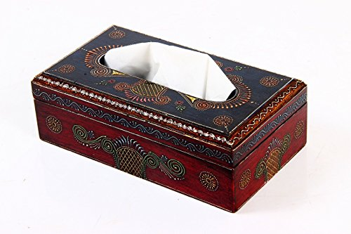 Purpledip Napkin Holder: Hand-painted Wooden Tissue Box For Home Or Office