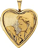 14k Yellow Gold Mother and Child Heart Locket Pendant