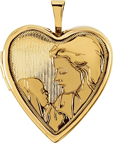 14k Yellow Gold Mother and Child Heart Locket Pendant by The Men's Jewelry Store (for HER)