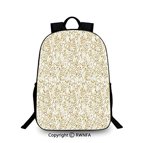 (Travel waterproof schoolbag,Golden Grape Vine Classic Victorian Pattern Invitation Background Wine Dine Illustration Travel College School Bags Gold White)