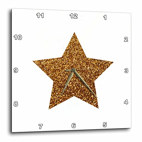 (3dRose Gold Star Made from A Glitter Photo Graphic - Not Actual Glitter - Wall Clock, 13 by 13-Inch (DPP_184931_2))