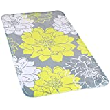Wimaha Non-Slip Bathroom Mat, Extra Large Bathroom Rugs Super Soft Microfiber, Shower Rug Mat Water Absorbent Fast Drying for Kitchen, Bedroom, Hotel, Spa Tub, Yellow Grey Peony Bath Rug, 31 x 19Inch