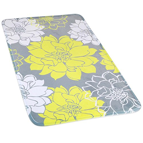 Wimaha Non-slip Bathroom Mat, Extra Large Bathroom Rugs Super Soft Microfiber, Shower Rug Mat Water Absorbent Fast Drying for Kitchen, Bedroom, Hotel, Spa Tub, Yellow Grey Peony Bath Rug, 31 x 19Inch (Garden Rug Peony)