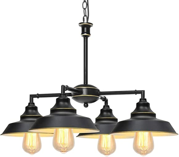 KingSo Industrial Metal Pendant Light,Rustic Pendant Light Fixture,Oil Rubbed Bronze 4-Light Chandelier