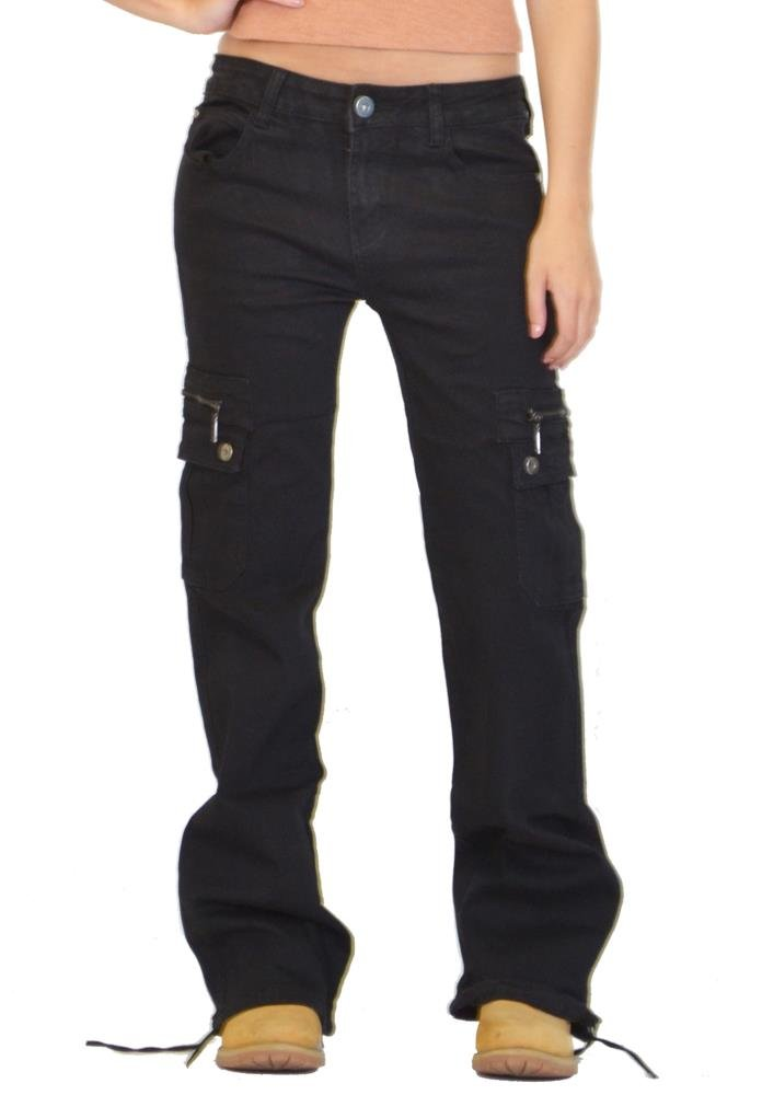 Glamour Outfitters Wide Leg Denim Cargo Pants Combat Jeans