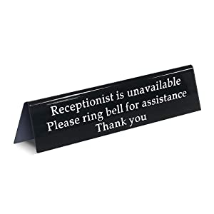 Please Ring Bell Sign for Service Away from Desk Receptionist is Unavailable/Office Sign for Lobby or Front Desk Assistance (7.9 Inches x 1.8 Inches) by MESS