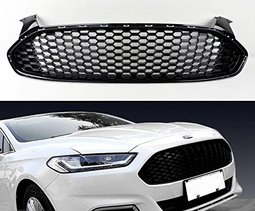 Ford Fusion 2013-2016 Gloss Black Front Bumper Honeycomb Mesh Grill Front Bumper Gloss