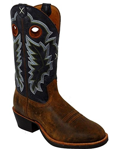 Twisted X Men's Ruff Stock Cowboy Boot Round Toe Tan 10.5 D(M) US (Round Tan Boots Cowboy)
