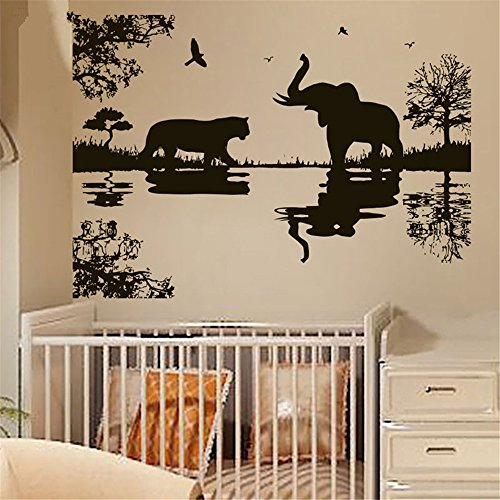 wsqgje Mural Saying Wall Decal Sticker Art Mural Home Decor Quote Elephant Tiger African Tree Animals for Kids Children Nursery room -