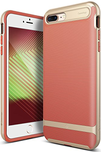 Caseology Wavelength for Apple iPhone 8 Plus Case (2017) / for iPhone 7 Plus Case (2016) - Stylish Grip Design - Coral Pink
