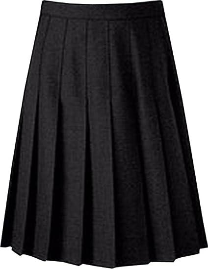 Falda de uniforme escolar plisada, longitud hasta la rodilla ...