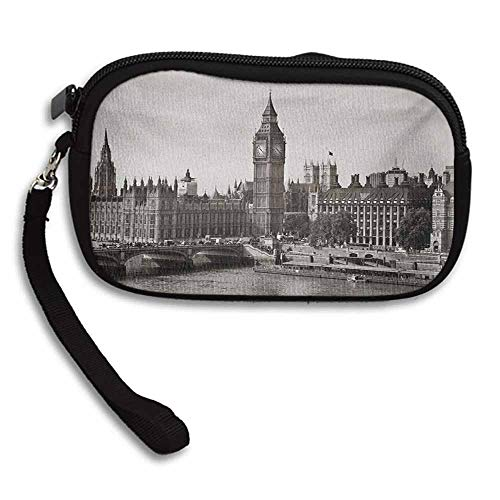 (London Small Wallets For Women Westminster with Big Ben and Bridge Nostalgic Image British Antique Architecture W 5.9