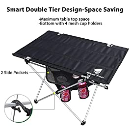 GEERTOP Portable Camp Side Table with Cup Holders Ultralight Folding Tables with Cloth Table Top Fold in a Bag for Backpacking, Camping, Picnic, Beach, Home BBQ – Easy to Clean